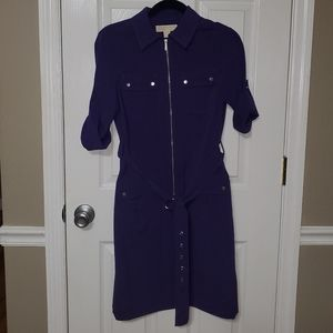 Michael Kors Sz S Belted Zip Front Shirt Dress